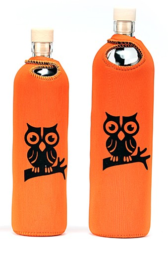 Glass Reusable Water Bottle Flaska Owl on the Branch